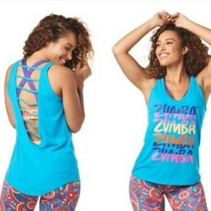Zumba Forever Tank Cage Open Back Top M